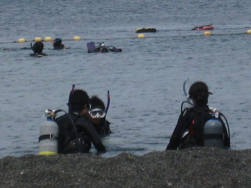 西伊豆にてスクーバダイビングのライセンス取得のための海洋実習